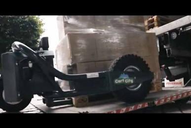 CartCity TRANSMANUT tire-palette électrique, tire-palette tout terrain. Surface utile de chargement préservée